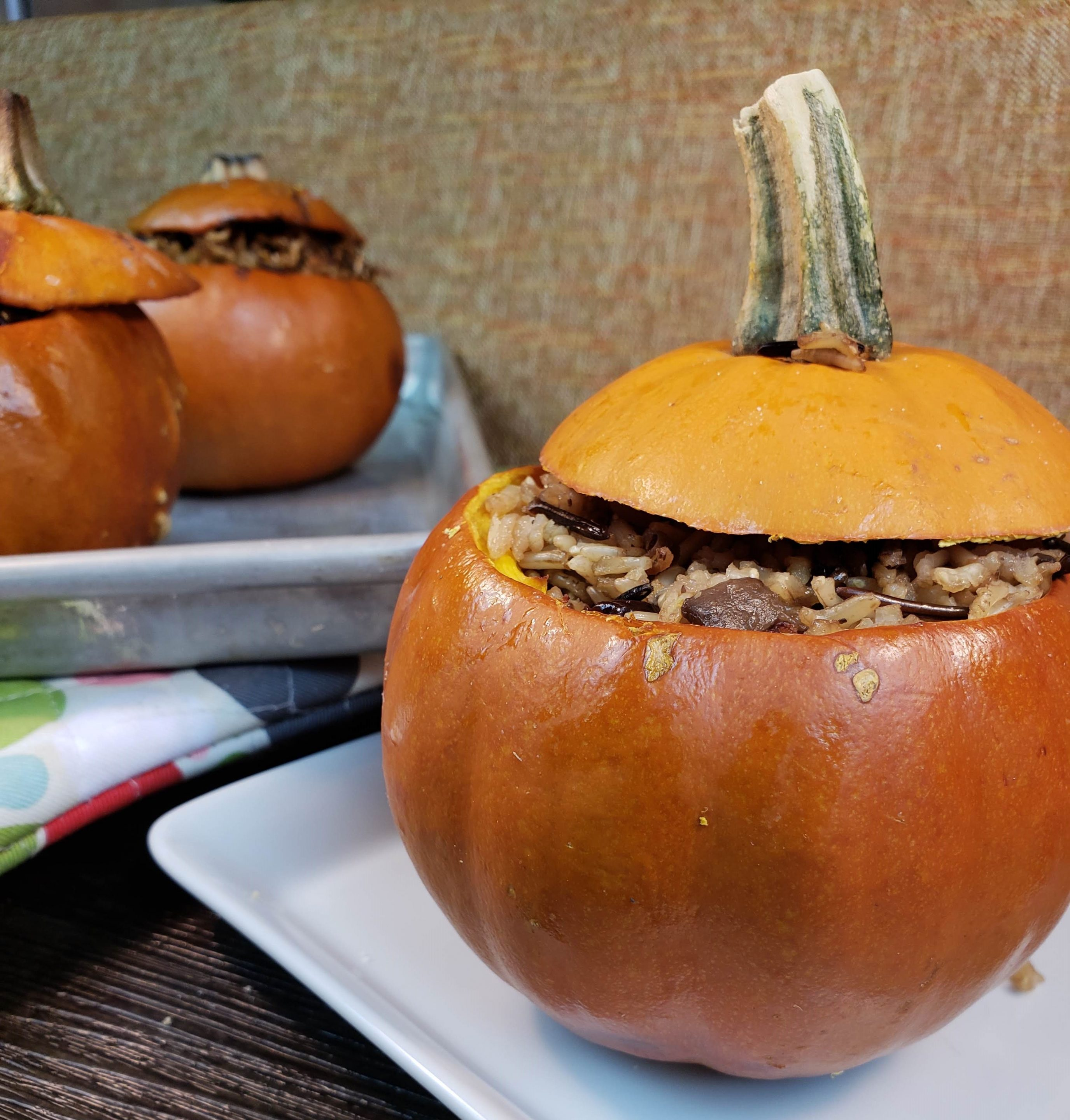 Wild Rice Stuffed Mini Pumpkins – Gluten-Free, Vegan