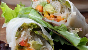 Rice Paper Wraps with Almond Dipping Sauce